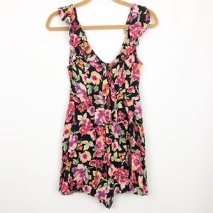 NWT Urban Outfitters Floral Open Back Romper